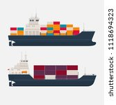 cargo ships with containers on... | Shutterstock .eps vector #1118694323