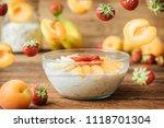 homemade oatmeal for breakfast... | Shutterstock . vector #1118701304
