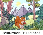 squirrel in the forest against... | Shutterstock .eps vector #1118714570