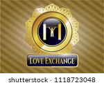 gold emblem or badge with pull ... | Shutterstock .eps vector #1118723048