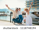 happy family on holiday in... | Shutterstock . vector #1118748194