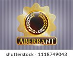 gold shiny badge with laurel... | Shutterstock .eps vector #1118749043