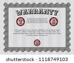 grey vintage warranty template. ... | Shutterstock .eps vector #1118749103