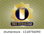 gold shiny emblem with soda... | Shutterstock .eps vector #1118756090