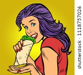 shawarma kebab doner. hungry... | Shutterstock .eps vector #1118757026