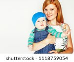 young beauty mother with cute... | Shutterstock . vector #1118759054