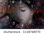 world of numerology and sad eyes | Shutterstock . vector #1118768570