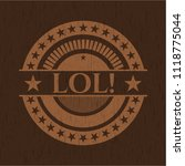 lol  badge with wood background | Shutterstock .eps vector #1118775044
