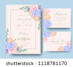 wedding floral invitation with  ... | Shutterstock .eps vector #1118781170