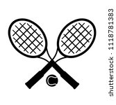 crossed racket and tennis ball... | Shutterstock .eps vector #1118781383