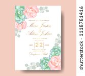 wedding floral invitation with  ... | Shutterstock .eps vector #1118781416