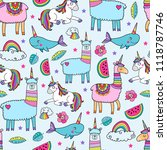 seamless pattern with cute... | Shutterstock .eps vector #1118787746