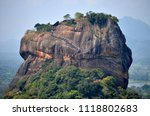 Close-up view of Sigiriya Lion Rock fortress from Pidurangala Rock, Sri Lanka.