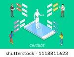 chatbot flat isometric vector... | Shutterstock .eps vector #1118811623