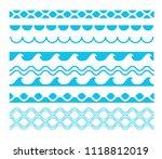 vector decorative blue sea...   Shutterstock .eps vector #1118812019