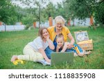 grandmother with kids with... | Shutterstock . vector #1118835908