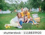 grandmother with kids with... | Shutterstock . vector #1118835920