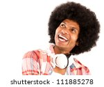 Happy afro man with headphones laughing - isolated over a white background - stock photo