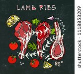 lamb ribs chops with herbs ... | Shutterstock .eps vector #1118853209