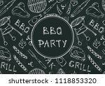 seamless pattern of summer bbq... | Shutterstock .eps vector #1118853320