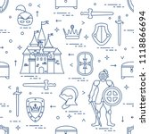 seamless pattern with knight ... | Shutterstock .eps vector #1118866694