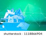 a modern house on a green... | Shutterstock .eps vector #1118866904