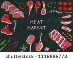 meat market. meat cuts   beef ... | Shutterstock .eps vector #1118886773