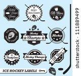 vector set  ice hockey labels... | Shutterstock .eps vector #111889499