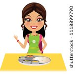 happy indian woman in an apron... | Shutterstock .eps vector #1118899790