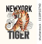 Stock vector typography slogan with tiger illustration 1118910740