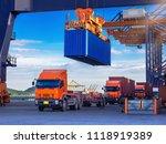 industrial port crane lift up... | Shutterstock . vector #1118919389