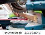 man working with circular saw ... | Shutterstock . vector #111893648