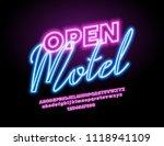 vector glowing neon sign open... | Shutterstock .eps vector #1118941109