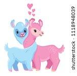 two cute llamas in love ... | Shutterstock .eps vector #1118948039