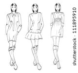 sketch. fashion girl. hand... | Shutterstock . vector #111895910