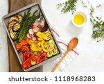 simple vegetarian meal  roasted ... | Shutterstock . vector #1118968283