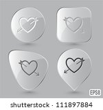 Heart And Arrow. Glass Buttons...