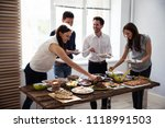 friends eating healthy food... | Shutterstock . vector #1118991503