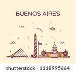 buenos aires skyline  argentina.... | Shutterstock .eps vector #1118995664