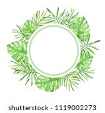 round watercolor tropical...   Shutterstock . vector #1119002273