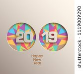 happy new year 2019 text design ... | Shutterstock .eps vector #1119009290