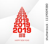 happy new year 2019 text design ... | Shutterstock .eps vector #1119009380