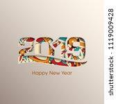 happy new year 2019 text design ... | Shutterstock .eps vector #1119009428