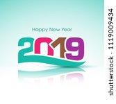 happy new year 2019 text design ... | Shutterstock .eps vector #1119009434