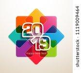 happy new year 2019 text design ... | Shutterstock .eps vector #1119009464