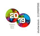 happy new year 2019 text design ... | Shutterstock .eps vector #1119009500