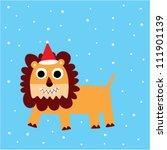 xmas lion doodle | Shutterstock .eps vector #111901139