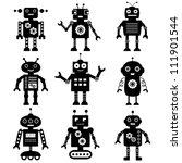 vector robot silhouettes set | Shutterstock .eps vector #111901544