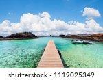 wooden jetty of the isla de... | Shutterstock . vector #1119025349