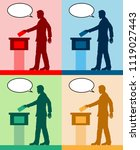 male voter silhouettes with... | Shutterstock .eps vector #1119027443